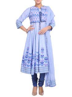 Shop Blue Cotton Anarkali Suit Set online at Biba.in - SKD#3776BLU