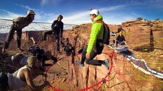 GoPro Video of a Daredevil BASE Jumping From a Hole Inside a Handmade Net