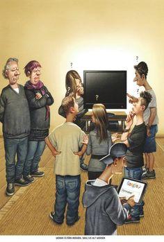 """Haderer-Karikatur vom 11. Oktober 2014: """"Woran Eltern merken, dass sie alt werden."""" (Bild: Haderer)"""