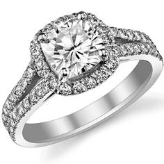 Cushion Moissanite Split Shank Halo Engagement Ring