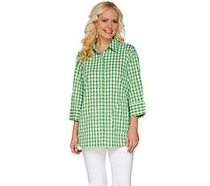 Joan Rivers Gingham Boyfriend Shirt with 3/4 Sleeves