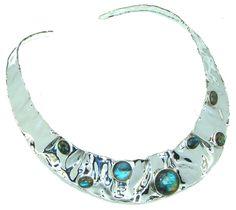$210.50 Scarlet Beauty Labradorite Sterling Silver necklace / Choker at www.SilverRushStyle.com #necklace #handmade #jewelry #silver #labradorite
