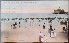 USA 1911 Steel Pier  Beach Bathing Costume Scene Atlantic City Postcard Cover