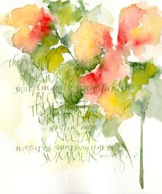 watercolor and calligraphy. Watercolor And Ink, Watercolour Painting, Watercolor Flowers, Watercolors, Beautiful Lettering, Letter Art, Letters, Watercolour Tutorials, Calligraphy Art