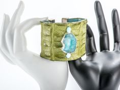 lime green cuff with blue druzy gem stone detail Bangles, Bracelets, Cuffs, Lime, Sea, Gemstones, Detail, Green, Leather