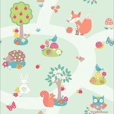 Arthouse Forest Friends Animal Bird Pattern Childrens Wallpaper 667200