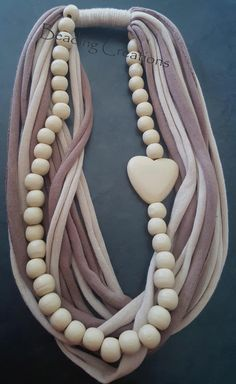 WOODEN BEADED T-SHIRT FABRIC SCARF NECKLACE - BEIGE AND LIGHT BROWN AVAILABLE FOR R120.00 AT: http://www.bidorbuy.co.za/seller/366992/Beadingcreations