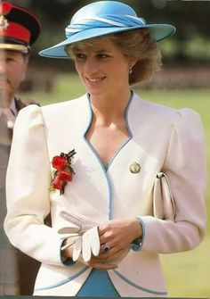 August 01, 1986: Princess Diana, Colonel-in-chief Of The Royal Hampshire Regiment, Presenting New Colours To The 1st Battalion During Her Visit To Tidworth, Hampshire. She Is Wearing The Regimental Brooch Given To Her When She Visited The Regiment In Germany The Previous Year.