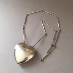 Georg Jensen Sterling Silver Heart Necklace No. 126 by Astrid Fog, Handmade Sterling Silver - Gallery 925
