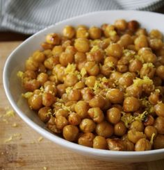 Gettin' Chicky With It: 12 Meatless Chickpea Recipes - Lemon Zest Roasted Chickpeas from In Pursuit of More