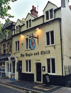 """Eagle & Child Pub - Favourite pub of J. R. R. Tolkien and C. S. Lewis. They met regularly from 1939-1962 with other writers who formed the group the """"Inklings"""" at the pub to drink and talk, usually in an area at the back of the pub, which was then a private sitting room and is now known as the Rabbit Room. http://cslewisjrrtolkien.classicalautographs.com/Birdandbaby.jpg"""