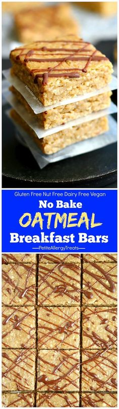 No bake Gluten Free Oatmeal Breakfast Bars. Delicious dairy free Vegan on-the-go nut free bars. Protein from sunflower butter. Food Allergy Friendly!