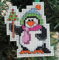 Cross Stitch Christmas Ornament  Chilly Penguin by britto801