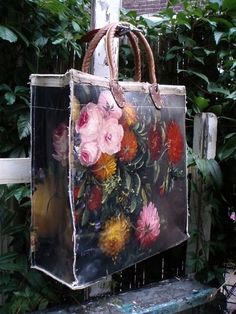 bag made of thrifted paintings, who would have thunk it.
