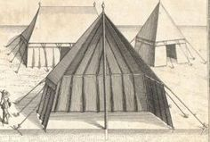 European tent in cross section showing arrangement of supporting ropes and hanging walls. c. 1641.