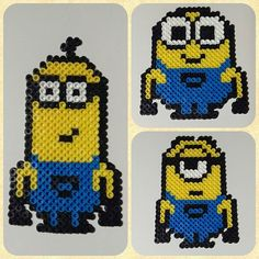 Kevin, Stuart and Bob - Minions perler beads by gail.christie