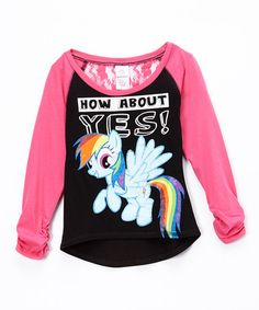 This Pink 'Yes!' Lace Back Raglan Top - Girls by My Little Pony is perfect! #zulilyfinds