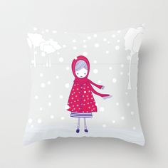 Girl+in+the+snow+Throw+Pillow+by+radis+-+$20.00