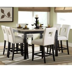Archstone Counter Height Dining Room Set with White Chairs