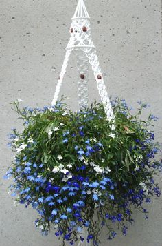Macrame Plant Hanger with Walnut Beads & Birdcage top ~~ Indoor / outdoor ~~ Large Macrame Flower Hanger ~~~ other colors available