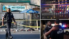 """A lone gunman in body armor opened fire early Sunday in a """"very safe"""" entertainment district, killing at least nine people, injuring 26 and igniting chaos in the crowded outdoor area before he was fatally shot by police within seconds, authorities said Open Fires, Body Armor, At Least, Police, Sunday, Author, Entertainment, Sayings, People"""