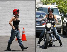 singer pink on motorcycle | ... dressed singer approaching yield or something on tuesday singer pink