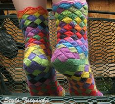knit socks, entrelac, via Etsy.