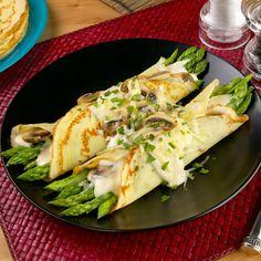 Asparagus and Mushroom Filled Crepes  #Walmart, #recipes