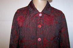 FRENCH LAUNDRY Jacket Sz S Burgundy Crinkled Floral Button Front Long Sleeves #FrenchLaundry #BasicJacket