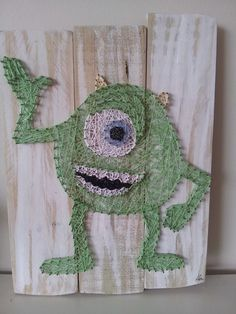 Mike from monsters inc string art. Check us out on Facebook at All Strung Up. https://www.facebook.com/pages/All-Strung-Up/915873695199667?ref=hl