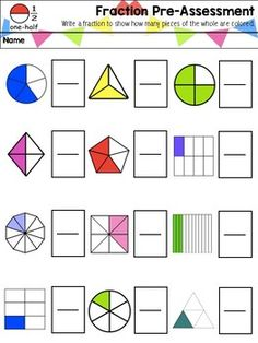 This is a simple and easy to use pre-assessment on fractions for your students, to find out what they already know about fractions. Please make sure to rate and leave feedback! Math Fractions Worksheets, 3rd Grade Math Worksheets, 2nd Grade Math, Math Charts, Math Graphic Organizers, Montessori Math, Math Notebooks, Math For Kids, Teaching Math