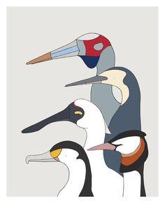 Wetland Birds - bird art by Australian graphic designers Eggpicnic.