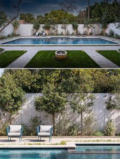 This yard was transformed into a private oasis with a 50-year-old coastal live oak tree, a Balinese water fountain, 60-year-old Manzanilla olive trees, and a resort-style quartz pool. Live Oak Trees, House Landscape, Under Stairs, Resort Style, Nook, Swimming Pools, Fountain, Coastal, Places