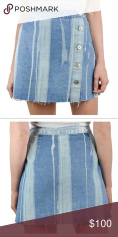 3526010e2a 3x1 denim skirt 3x1 skirt Light blue denim twill with different sized  bleached stripes Cutoff raw