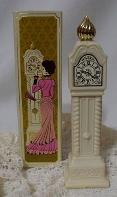 Vintage 70s Avon Fragrance Hours Grandfather Clock Bottle Box Bird of Paradise  #Avon #Vintage