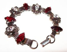 "Excited to share the latest addition to my #etsy shop: Art Deco Link Bracelet Red & Ice Rhinestones Fleur Di Lis Prongs Silver Metal 7.5"" Vintage https://etsy.me/2I4SLRQ #jewelry #bracelet #silver #box #no #women #red #specialtychains #geometric"
