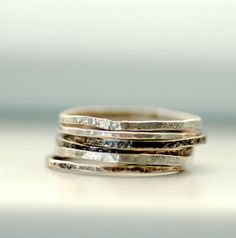 Sterling Silver Rings Skinny Rings Hammered by WildWomanJewelry