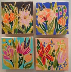 We can't get enough of these beautiful paintings by Lulie Wallance in mini size and larger - so pretty and perfect for spring decorating! Check out her website - so colorful!