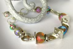 Dichroic Glass Bracelet  Sterling Silver by jQjewelrydesigns, $125.00