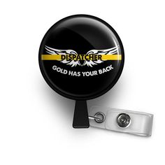 thin gold line dispatcher nurse badge reel