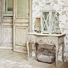 love the old doors and finish on this piece AND the BASKET!!