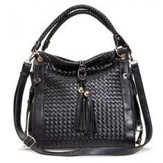 Black woven hobo handbag with tassels   theglitterguide.com