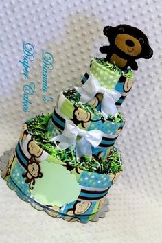 Monkey Rattle Baby Diaper Cake Shower Gift or Centerpiece created by www.diannasdiapercakes.com