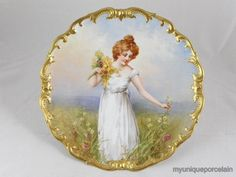 Limoges ~ Large ~ Charger plate ~Portrait of a girl picking flowers ~ Hand painted ~ Artist signed ~ Dubois