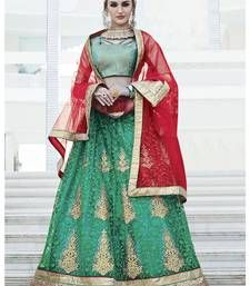 sea green and red colored net embroidered lahenga choli.It comes with brocade blouse and net dupatta.This lahenga choli comes semi-stitched,which can be stitched as per your requirnment. Wedding Lehenga Designs, Brocade Blouses, Lahenga, Bridal Lehenga, Sari, Green, Color, Fashion, Saree