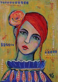 Fleurette - Original Portrait Painting by Roberta Schmidt - ArtcyLucy on Etsy
