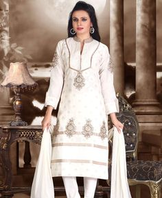 Buy Fascinating White Readymade Salwar Kameez online at  https://www.a1designerwear.com/fascinating-white-readymade-salwar-kameez-3  Price: $45.88 USD
