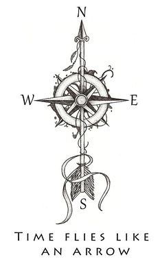 """""""Time flies like an arrow"""" by Beatrizxe Illustration based in a tattoo style. A compass is pierced by an arrow.:"""