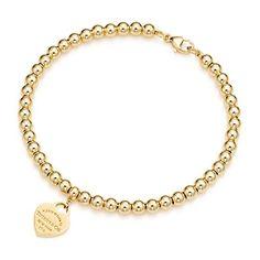 Return to Tiffany™ – Mini-Herzmarke aus 18kt. Gold mit Kugelarmband.