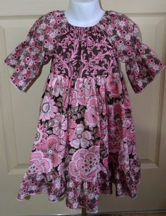 Ruffle Peasant Dress Girls 4T Pink Brown by PigtailsNPetticoats, $39.00